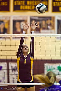 Licking Heights High School's Elizabeth Daugherty (1) blocks the ball against Millersport High School Tuesday night October 11, 2011 at Licking Heights High School.  The Licking Heights team won three straight games for the victory. (© James D. DeCamp | http://www.JamesDeCamp.com | 614-367-6366)