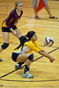 Licking Heights High School's Mercedesz Mate (2) sets the ball against Millersport High School Tuesday night October 11, 2011 at Licking Heights High School.  The Licking Heights team won three straight games for the victory. (© James D. DeCamp | http://www.JamesDeCamp.com | 614-367-6366)