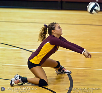 Licking Heights High School's Michaela Green (13) sets the ball against Millersport High School Tuesday night October 11, 2011 at Licking Heights High School.  The Licking Heights team won three straight games for the victory. (© James D. DeCamp | http://www.JamesDeCamp.com | 614-367-6366)