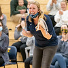 Fairfield Falcons head coach Brittany Hershberger reacts after a play during Thursdays game at Fairfield Jr./Sr. High School in Benton.