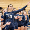 Fairfield Falcons middle hitter Madisyn Steele (13) waves to he crowd during introductions before Thursdays game at Fairfield Jr./Sr. High School in Benton.