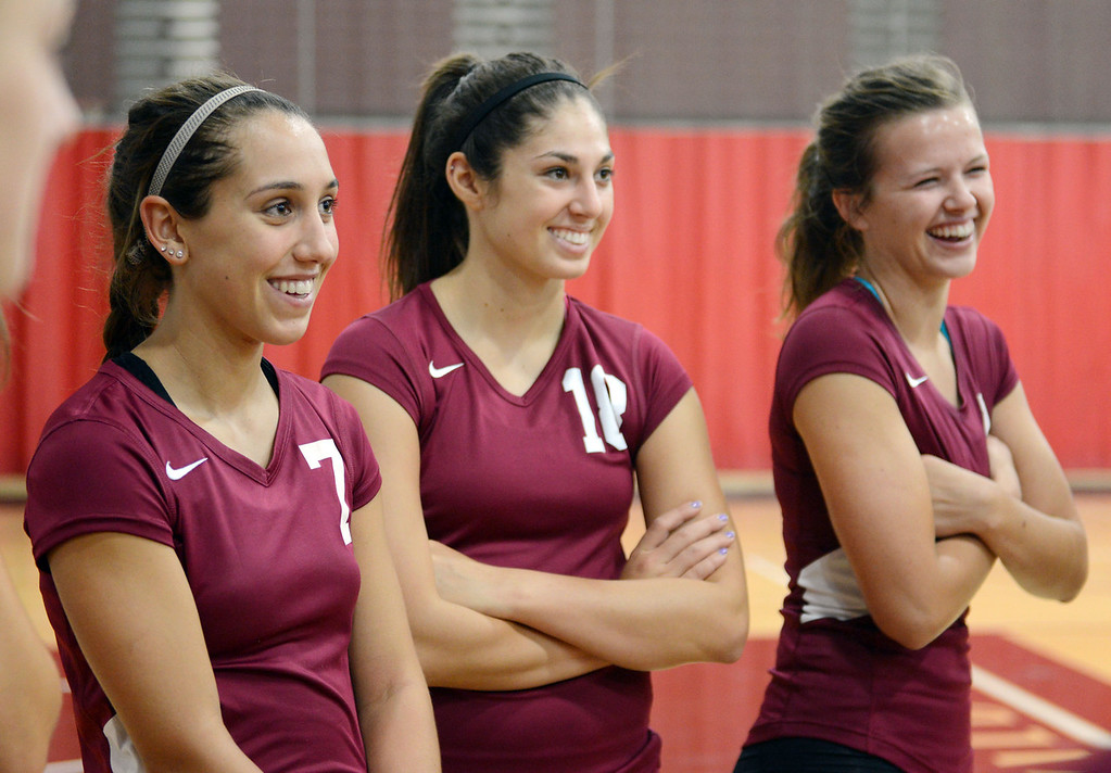 . Chico State\'s #7 Shannon Cotton, #18 Natalie Nordahl and #3 Haley Uhland (left to right) prepare against Butte College in their volleyball game at CSUC Acker Gym Saturday, August 24, 2013 in Chico, Calif.  (Jason Halley/Chico Enterprise-Record)