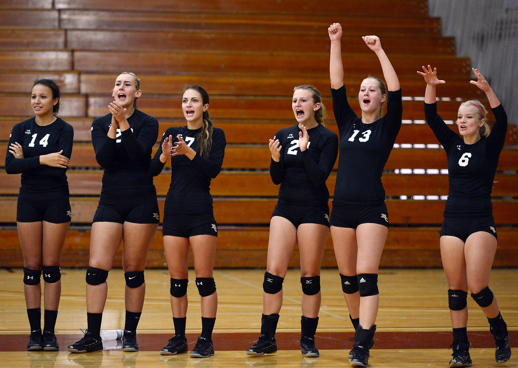 . Butte College\'s #14 Gabby Delarosa, #20 Erika Click, #7 Taylor Johnson, #21 Drew Tattam, #13 Emilie Aase and #6 Lacie Landrum (left to right) react to a score against Chico State in their volleyball game at CSUC Acker Gym Saturday, August 24, 2013 in Chico, Calif.  (Jason Halley/Chico Enterprise-Record)