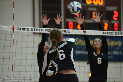 The Butte College Roadrunners play the Chico State Volleyball team Saturday, Aug. 20, 2016, at Acker Gym in Chico, California. (Dan Reidel -- Enterprise-Record)