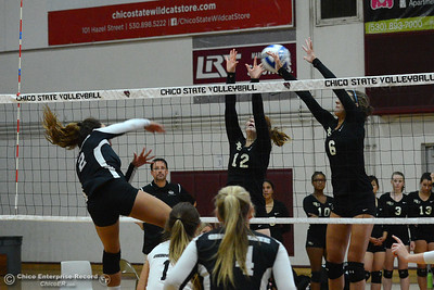 Chico State's Olivia Mendiano (2) slams the ball between the arms of Butte College players Morgan Raschein (12) and Brianna Souza (6) in a volleyball scrimmage Saturday, Aug. 20, 2016, at Acker Gym in Chico, California. (Dan Reidel -- Enterprise-Record)