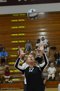 Chico State volleyball player Torey Thompson (17) sets the ball for a teammate Saturday, Aug. 20, 2016, against Butte College in a scrimmage at Acker Gym in Chico, California. (Dan Reidel -- Enterprise-Record)