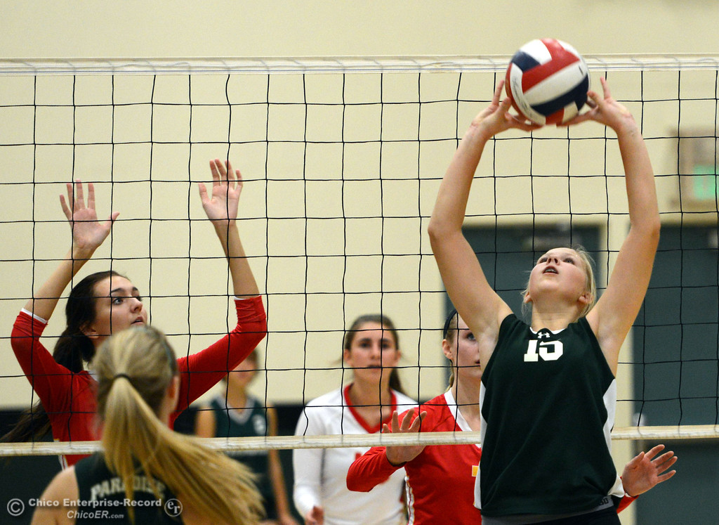 . Paradise High\'s #15 Emilee Heinke (right) sets the ball in the second game of their girls volleyball match at PHS Thursday, October 10, 2013 in Paradise, Calif.  (Jason Halley/Chico Enterprise-Record)