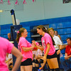 North Middlesex senior outside hitter Brenna Walsh and senior defensive specialist Jocelyn Wright share a laugh in the midst of a substitution during Wednesday's win over Hudson.<br /> NASHOBA PUBLISHING/ED NISER