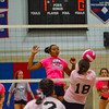 North Middlesex freshman Abby Sullivan spikes the ball over the net in the first set of Wednesday's Dig Pink match against Hudson.<br /> NASHOBA PUBLISHING/ED NISER