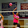 North Middlesex freshman Abby Sullivan hammers a spike over the net in game two of Wednesday's 3-0 victory over Hudson.<br /> NASHOBA PUBLISHING/ED NISER
