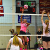 Abby Sullivan gives the Patriots a 7-0 lead with a spike in game two of Wednesday's 3-0 win over Hudson.