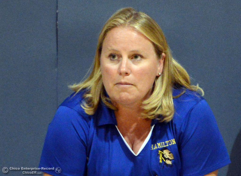 . Hamilton High\'s coach Erin Johnson against Gridley High in their second game of their volleyball match Thursday, August 29, 2013 in Chico, Calif.  (Jason Halley/Chico Enterprise-Record)