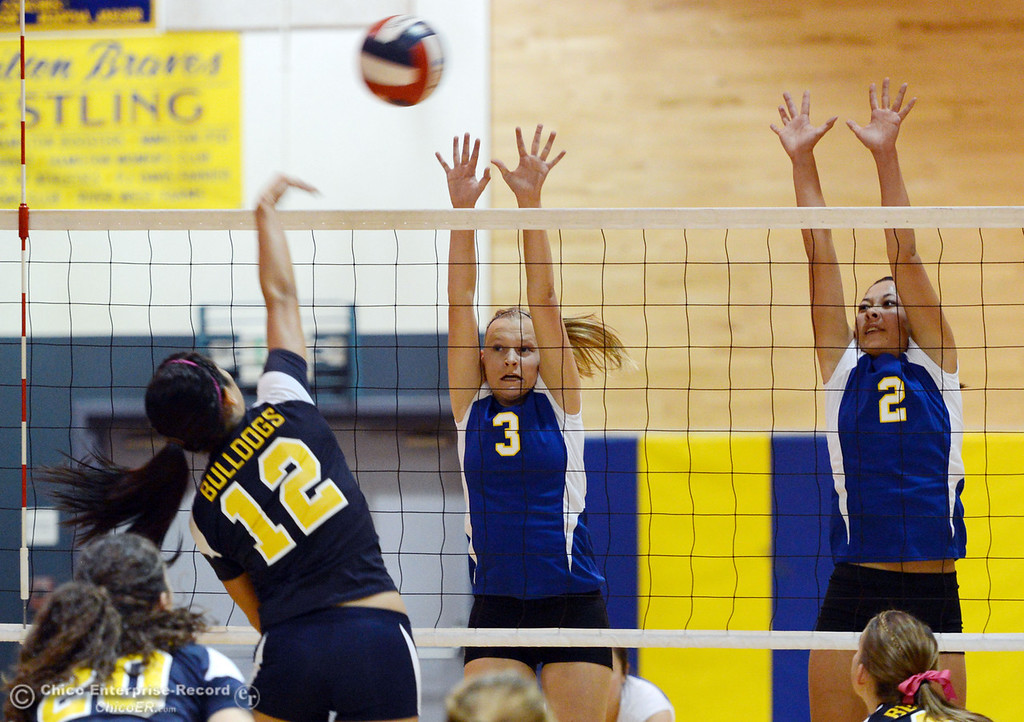 . Gridley High\'s #12 Lauren Solis  (left) spikes the ball against Hamilton High\'s #3 Kendra Gordon (center) and #2 Raegan Avrit (right) in their first game of their volleyball match Thursday, August 29, 2013 in Chico, Calif.  (Jason Halley/Chico Enterprise-Record)