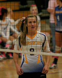 Exeter Monarch volleyball player Olivia Harden (9) against Kingsburg on 10/17/13.