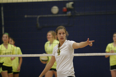 Kingsburg setter Nicole Linman (9) during pre-game warm ups. Kingsburg at Exeter 10-17-2013.