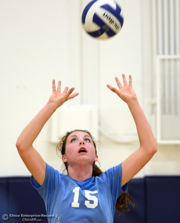 . Pleasant Valley High\'s #15 Sydney Stanley sets the ball against Chico High in the second game of their girls volleyball match at PVHS Varley Gym Saturday, October 12, 2013 in Chico, Calif.  (Jason Halley/Chico Enterprise-Record)