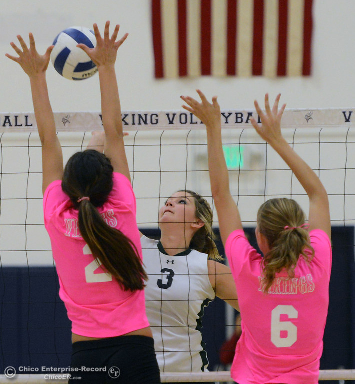 ". Paradise High\'s #3 Kelsi Earhart (center) spikes against Pleasant Valley High\'s #2 Lily Justine (left) and #6 Hanne Henriksen (right) in the first game of their volleyball match at PVHS Varley Gym Thursday, October 17, 2013 in Chico, Calif. PV volleyball wore pink instead of blue vs Paradise at ""Fight Like a Viking Night,\"" to raise money for cancer research. (Jason Halley/Chico Enterprise-Record)"