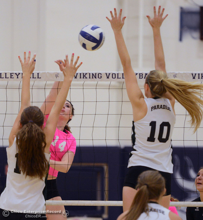 ". Pleasant Valley Highs\' #14 Taylor Hovey (center) spikes against Paradise High\'s #11 Jennifer Olson (left) and #10 Larissa Knifong (right) in the second game of their volleyball match at PVHS Varley Gym Thursday, October 17, 2013 in Chico, Calif. PV volleyball wore pink instead of blue vs Paradise at ""Fight Like a Viking Night,\"" to raise money for cancer research. (Jason Halley/Chico Enterprise-Record)"
