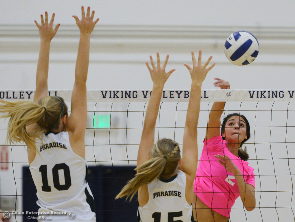 ". Pleasant Valley High\'s #2 Lily Justine (right) spikes against Paradise High\'s #15 Emilee Heinke (center) and #10 Larissa Knifong (left) in the second game of their volleyball match at PVHS Varley Gym Thursday, October 17, 2013 in Chico, Calif. PV volleyball wore pink instead of blue vs Paradise at ""Fight Like a Viking Night,\"" to raise money for cancer research. (Jason Halley/Chico Enterprise-Record)"