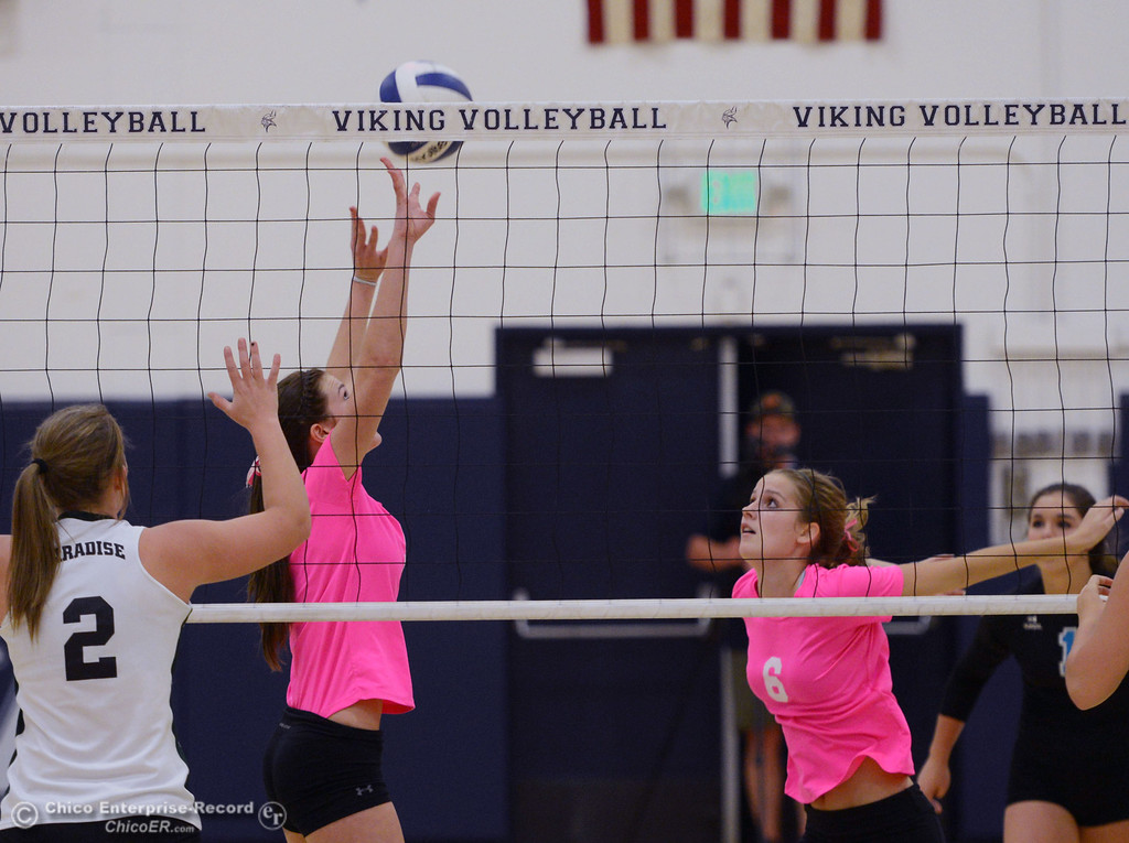 ". Pleasant Valley High\'s #5 Kristian Joyce (left) sets for #6 Hanne Henriksen (right) against Paradise High in the second game of their volleyball match at PVHS Varley Gym Thursday, October 17, 2013 in Chico, Calif. PV volleyball wore pink instead of blue vs Paradise at ""Fight Like a Viking Night,\"" to raise money for cancer research. (Jason Halley/Chico Enterprise-Record)"