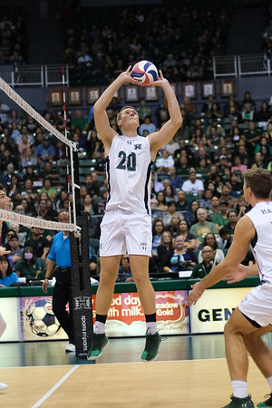 Hawaii setter Jackson Van Eekeren (20) gets a chance to set in the third game of an opening night match against Charleston at the Stan Sheriff Center in Honolulu, Hawaii on January 3, 2020. Van Eekeren, a redshirt junior from Naperville, Indiana, had 5 assists in a backup role.