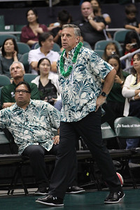 Hawaii head coach Charlie Wade paces along the sideline as assistant coach Chad Giesseman observes in an opening night match against Charleston at the Stan Sheriff Center in Honolulu, Hawaii on January 3, 2020.