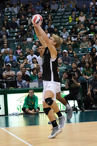 Hawaii libero Gage Worsley (6) plays the first ball with his hands in an opening night match against Charleston at the Stan Sheriff Center in Honolulu, Hawaii on January 3, 2020. Worsley enters his junior season for Hawaii.