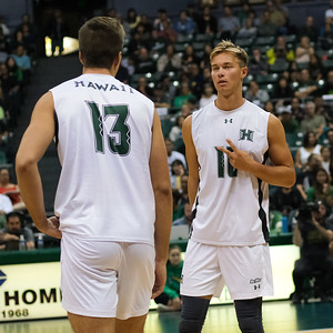Hawaii setter Jakob Thelle (10) calls a play for middle blocker Max Rosenfeld (13) in an opening night match against Charleston at the Stan Sheriff Center in Honolulu, Hawaii on January 3, 2020.
