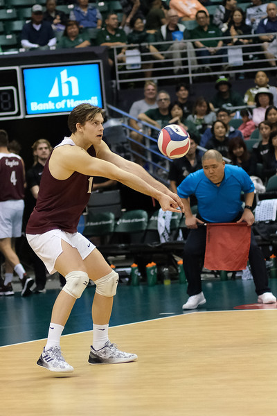 Charleston outside Max Senica (10) passes the ball in an opening night match against Hawaii at the Stan Sheriff Center in Honolulu, Hawaii on January 3, 2020. Senica led Charleston with 9 kills and hit for a .333 average.