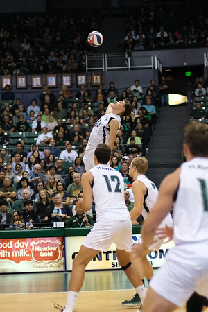 Hawaii's Dimitrios Mouchlias (11) rises up for a D ball in an opening night match against Charleston at the Stan Sheriff Center in Honolulu, Hawaii on January 3, 2020.