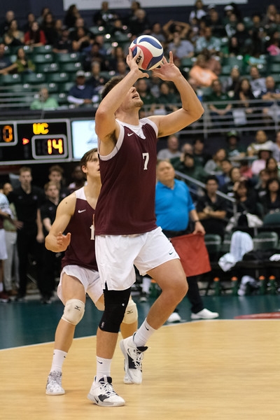 Charleston oppo Jake Vorburger (7) takes the free ball with his hands in an opening night match against Hawaii at the Stan Sheriff Center in Honolulu, Hawaii on January 3, 2020. Vorburger hit .154 with 4 kills on 13 attempts.
