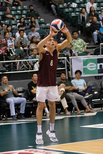 Charleston setter Diego Villafane (8) puts the ball over on three from off the court in an opening night match against Hawaii at the Stan Sheriff Center in Honolulu, Hawaii on January 3, 2020. Villafane had 26 assists for Charleston.