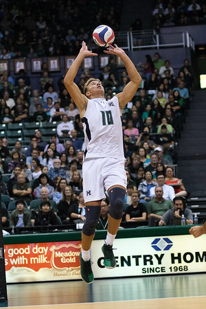 Hawaii setter Jakob Thelle (10) gets off the ground for a jump set in an opening night match against Charleston at the Stan Sheriff Center in Honolulu, Hawaii on January 3, 2020. Thelle added 2 kills, 2 block assists, and 3 digs for Hawaii.