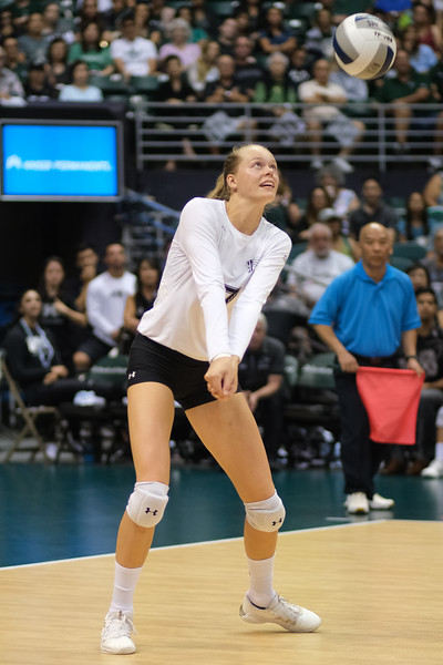 Hanna Hellvig of Hawaii takes the free ball in the championship match against UCLA in the Outrigger Hotels and Resorts Volleyball Challenge at the Stan Sheriff Center, Honolulu, Hawaii on September 14, 2019.