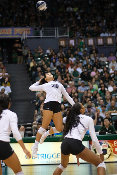 Hawaii hitter McKenna Ross skies for an attack in the championship match against UCLA in the Outrigger Hotels and Resorts Volleyball Challenge at the Stan Sheriff Center, Honolulu, Hawaii on September 14, 2019.