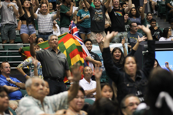 Hawaii fans beg for t-shirts during the championship match against UCLA in the Outrigger Hotels and Resorts Volleyball Challenge at the Stan Sheriff Center, Honolulu, Hawaii on September 14, 2019.