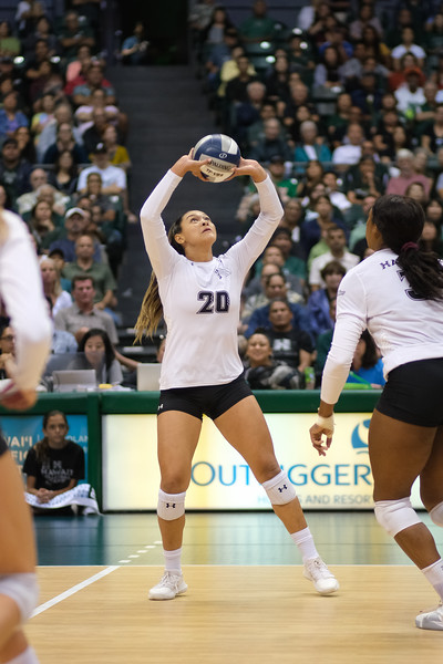 Hawaii hitter McKenna Ross takes the set in the championship match against UCLA in the Outrigger Hotels and Resorts Volleyball Challenge at the Stan Sheriff Center, Honolulu, Hawaii on September 14, 2019.