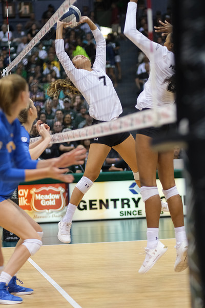 Hawaii setter Bailey Choy jump sets in the championship match against UCLA in the Outrigger Hotels and Resorts Volleyball Challenge at the Stan Sheriff Center, Honolulu, Hawaii on September 14, 2019.