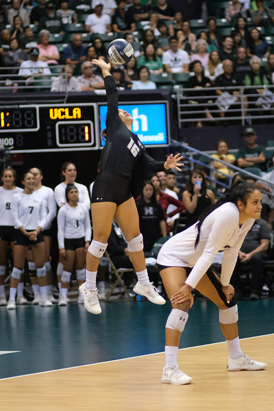 Hawaii libero Rika Okino serves in the championship match against UCLA in the Outrigger Hotels and Resorts Volleyball Challenge at the Stan Sheriff Center, Honolulu, Hawaii on September 14, 2019.