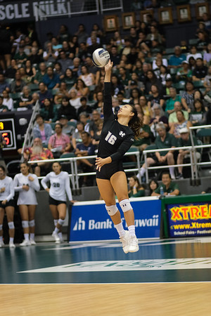 Hawaii libero Rika Okino hits a jump serve in the championship match against UCLA in the Outrigger Hotels and Resorts Volleyball Challenge at the Stan Sheriff Center, Honolulu, Hawaii on September 14, 2019.