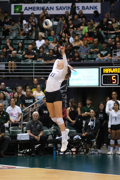 Hawaii outside hitter Hanna Hellvig hits a jump float serve in the championship match against UCLA in the Outrigger Hotels and Resorts Volleyball Challenge at the Stan Sheriff Center, Honolulu, Hawaii on September 14 2019.