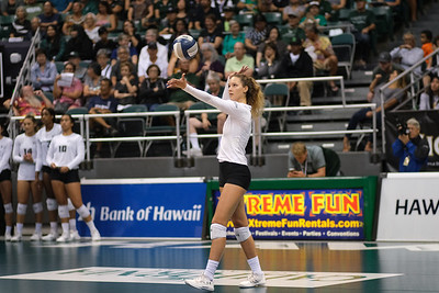 Hawaii outside hitter Riley Wagoner tosses for serve against UCLA at the Outrigger Hotels and Resorts Volleyball Challenge at the Stan Sheriff Center, Honolulu, Hawaii on September 14 2019.
