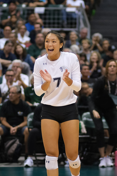 Hawaii setter Bailey Choy celebrates a point in the championship match against UCLA in the Outrigger Hotels and Resorts Volleyball Challenge at the Stan Sheriff Center, Honolulu, Hawaii on September 14, 2019.