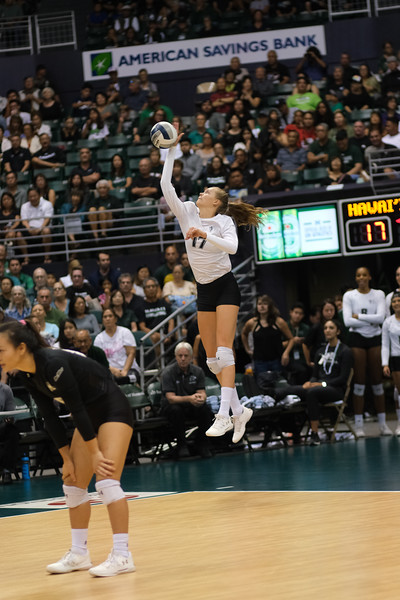 Hawaii's Hanna Hellvig hits a jump float in the championship match against UCLA in the Outrigger Hotels and Resorts Volleyball Challenge at the Stan Sheriff Center, Honolulu, Hawaii on September 14, 2019.