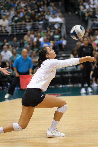 Hawaii setter Bailey Choy bump sets the second ball in the championship match against UCLA in the Outrigger Hotels and Resorts Volleyball Challenge at the Stan Sheriff Center, Honolulu, Hawaii on September 14, 2019.