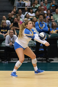 UCLA libero Kelli Barry passes a ball in the championship match against Hawaii in the Outrigger Hotels and Resorts Volleyball Challenge at the Stan Sheriff Center, Honolulu, Hawaii on September 14, 2019.