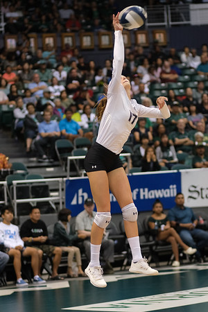 Hawaii hitter Hanna Hellvig serves in the championship match against UCLA in the Outrigger Hotels and Resorts Volleyball Challenge at the Stan Sheriff Center, Honolulu, Hawaii on September 14, 2019.