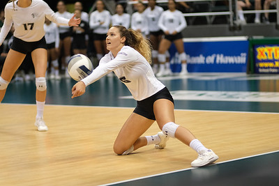 Hawaii's Riley Wagoner (6) drops to a knee to pass in the championship match against UCLA in the Outrigger Hotels and Resorts Volleyball Challenge at the Stan Sheriff Center, Honolulu, Hawaii on September 14 2019.