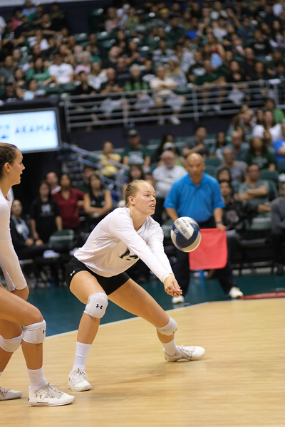 Hawaii's Hanna Hellvig keeps her eyes on the ball in the championship match against UCLA in the Outrigger Hotels and Resorts Volleyball Challenge at the Stan Sheriff Center, Honolulu, Hawaii on September 14, 2019.