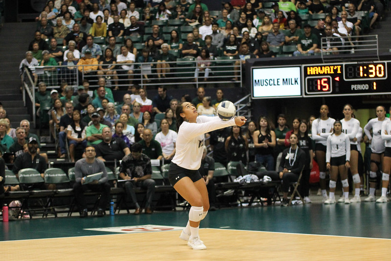 Hawaii setter Norene Iosia puts up a bump set in the championship match against UCLA in the Outrigger Hotels and Resorts Volleyball Challenge at the Stan Sheriff Center, Honolulu, Hawaii on September 14, 2019.